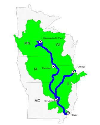 The Upper Mississippi River system includes 1200 miles of river